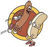 Jumping Hot-dog. Illustration inspired by the old drive-in movie cartoon of a hot-dog jumping into a bun Stock Image