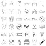 Jumping icons set, outline style. Jumping icons set. Outline style of 36 jumping vector icons for web isolated on white background Stock Photo