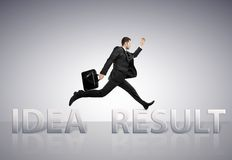 Jumping  from idea to result Royalty Free Stock Photography