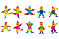 Jumping Jack. Different colorful Jumping Jack figures Stock Photography