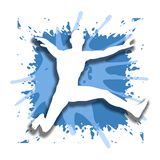 Jumping Jack Splash. An illustration featuring the silhouette of a man jumping into the air set against a blue splash background Royalty Free Stock Photos