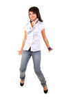 Jumping Jeans Girl. Royalty Free Stock Images
