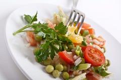 Jumping Joe salad. Traditional New Year's Jumping Joe Salad - Rice, Peppers, Green Peas Royalty Free Stock Photos