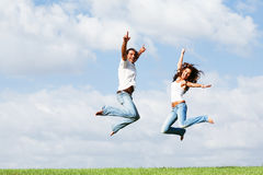 Jumping of joy stock image