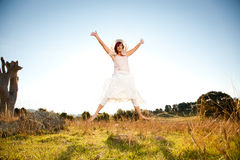 Jumping for joy Royalty Free Stock Image