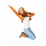 Jumping with joy. A picture of a young happy woman jumping with joy over white background Stock Photos