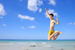 Jumping of joy Royalty Free Stock Photo