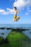 Jumping of joy stock photo