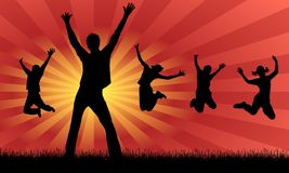 Jumping for joy. Graphic illustration with sunbeam background Royalty Free Stock Photo