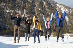 Jumping in joy Stock Photo