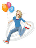 Jumping for Joy with Balloons Royalty Free Stock Photos