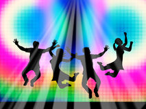 Jumping Joy Represents Light Burst And Happy Royalty Free Stock Images
