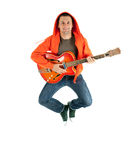 Jumping joyful man electric guitar Stock Photography