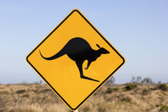 Jumping kangaroo sign Stock Photography