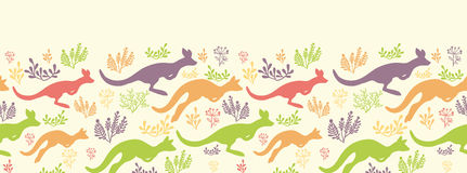 Jumping kangaroo vector horizontal seamless Royalty Free Stock Photos
