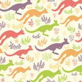 Jumping kangaroo vector seamless pattern Stock Image