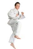 Jumping karate boy Royalty Free Stock Images