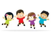 Jumping Kids 2. Illustration of multi-ethnic kids jumping stock illustration