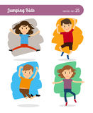 Jumping Kids Characters Royalty Free Stock Photography