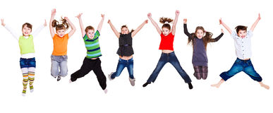 Jumping kids collection Royalty Free Stock Photography