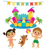 Jumping Kids And Dog And Bouncy Castle Vector Set. Cartoon Illustrations On A White Background. Bouncy Castle And Funny Boy And Girl On The Beach. Summer vector illustration