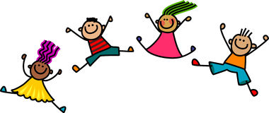 Jumping Kids. A group of happy and diverse stick children jumping in the air Stock Images