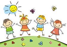 Jumping kids Royalty Free Stock Image