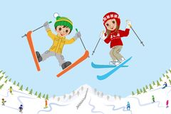 Jumping kids on ski slope Stock Photo