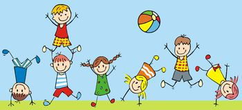 Jumping kids, vector icon, funny illustration. Group of girls and boys playings on the meadow. Colored illustration Stock Photo