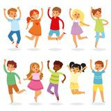 Jumping kids vector yong child character in jump activity in childhood illustration set of playful children and laughing. Boy or girl at school or kindergarten stock illustration