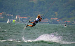 Jumping kitesurfer royalty free stock image