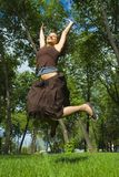 Jumping lady Royalty Free Stock Images
