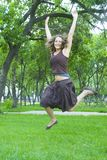 Jumping lady Royalty Free Stock Photography