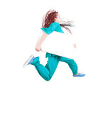 Jumping lady doctor in african hairdo with placard Stock Photo