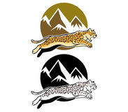 Jumping Leopard And Mountain Background Stock Photos