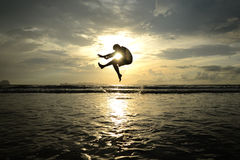 Jumping likes shrimp Stock Images