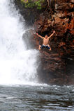 Jumping in Litchfield National Park Stock Images