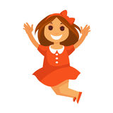 Jumping little girl with smile in red dress solated Royalty Free Stock Image