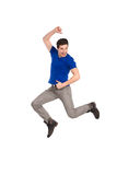 Jumping male student. Royalty Free Stock Photography