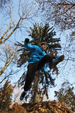 Jumping man. Young man jumping over a hole in a forest Royalty Free Stock Image