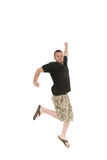 Jumping man. Active man jumping on white background Stock Photos