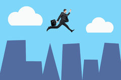 Jumping man above city. Side view of jumping businessman above abstract city. Sky with clouds in the background. Cartoon style. 3D Rendering stock illustration
