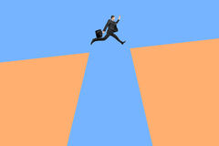 Jumping man above cliffs Stock Photos