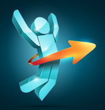 Jumping Man Arrow. 3d vector jumping man with arrow. Success concept Royalty Free Stock Image