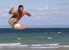 Jumping man in Bulgaria. Stock Photo