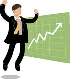 Jumping man and chart up Stock Image