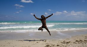 Jumping man in cuba Royalty Free Stock Photos