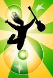 Jumping man with guitar silhouette. On abstract yellow green background Royalty Free Stock Photo