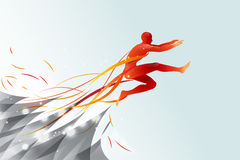 Jumping man with line art concept stock illustration