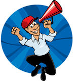Jumping man with megaphone. Cartoon of a happy man announcing with megaphone Royalty Free Stock Image